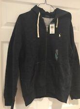 Polo Ralph Lauren Mens Hoodie Full Zip Fleece Sweatshirt Pony Logo Blue Lrge NWT