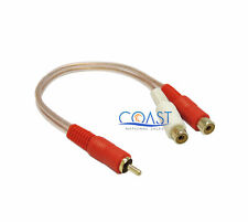 """CNS RCA2-1M2F  6"""" RCA 1 Male to 2 Female Y Audio Adapter Cable - Clear red"""
