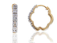 Pave 0.26 Cts Round Brilliant Cut Diamonds Hoop Earrings In Fine 14K Yellow Gold