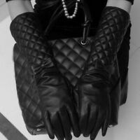 40CM in Length Women Long Leather Bowknot Gloves New Winter Fashion Black