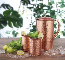 Avador Handcrafted 100% Pure Copper Jug Pitcher with 2 Glass Drinkware Hammered