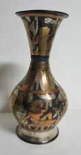 """7"""" Tall Egyptian Made in Egypt Metal Hand Painted Vase - Used - Free Shipping!"""