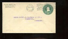 US TransAtlantic Stationary Advertising Cover 1907 NYC to Hamburg, Germany