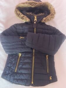 Joules Girls Quilted Warm Coat Age 6 Fur Hood Navy Great For School