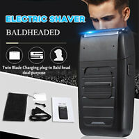Rechargeable Men's Beard Electric Shaver Bald Razor Cordless Dual Foil