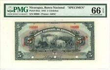 Nicaragua 5 Cordobas Currency Banknote 1942 Specimen PMG 65 GEM CU
