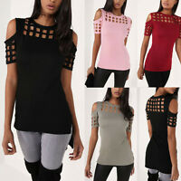 Hot Women Ladies Cut Out Short Sleeve T-shirt Cold Shoulder Loose Tee Top Blouse