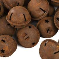 "20 Rusty Metal Star Cutout Jingle Bells 1.5"" 1 1/2 in Holiday Decoration 38-40mm"