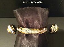 ST JOHN COLLECTION...HINGED BRACELET & CLIP-ON EARRINGS...GOLD TONE/SILVER TONE