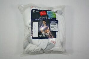 008X02 Hanes 84L10 Cushion Crew Socks (10-Pack) OSFM White (NWD)