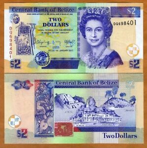 Belize, 2 Dollars, 2017, QEII, P-66f, UNC > New Date