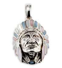 925 Silver Mother of Pearl American Indian Head Pendant