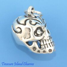 Sugar Skull Mexican Calavera Day Of The Dead 3D .925 Solid Sterling Silver Charm