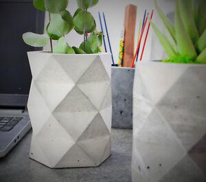 Concrete planter, geometric pots, desk organiser, home decor, gifts