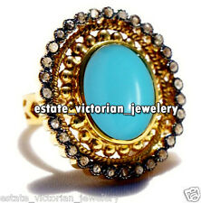 Antique Victorian 2.01Cts Rose Cut Diamond Turquoise Studded Silver Ring Jewelry