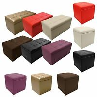 Unfold Leather Storage Ottoman Bench Footstool Seat Cocktail Coffee End Table