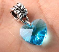 Exquisite 5pcs Silver CZ big hole Beads Fit European Charm Pendant Bracelet