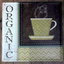 Metal Tin Sign organic coffee Bar Pub Vintage Retro Poster Cafe ART