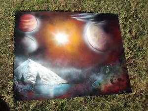 ~original space/landscape SPRAY PAINTED posters, signed by artist~