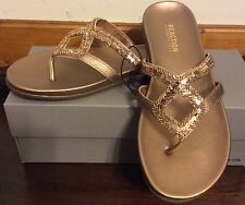 Kenneth Cole Reaction Jewel Sandals Rose Gold Sz 6 NEW
