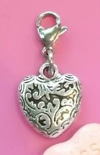 💗 SILVER HEART CHARM CLIP ON DANGLE CHARM for CHARM BRACELET LOVE VINTAGE NEW