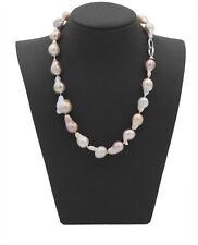 Barock Perlenkette  Edison Farbspiel Unikat geknüpft Barockperlen 925 Silber #99