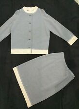 Bernini Wool Button Top and Zippered Skirt Made in Italy Gray Cream Sizes 18 10