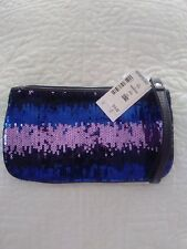 AEROPOSTALE  ZIPPERED MAKE UP BAG OR CLUTCH BLACK, PINK and PURPLE SEQUINS