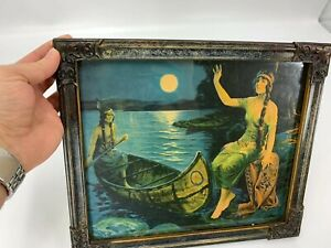 Antique Pocahontas Framed Print With Note On The Back Dated 1827