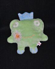 Peluche doudou grenouille semi plat CATIMINI vert couronne bleue 18 cm TTBE
