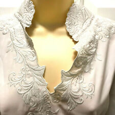 Soft Surroundings Women Size L Blouse Ivory Embroidered 3/4 Accordion Sleeves