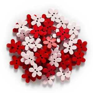 100pcs Red Series Flower Wood buttons for Sewing Scrapbook Crafts Handmade Decor