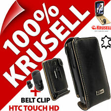 New Krusell Orbit Flex GENUINE LEATHER Flip Case Cover + Clip for HTC Touch HD
