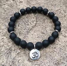 Black Onyx Natural beads 8 mm mala cuff bracelet man yoga meditation pendant