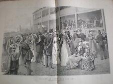 La société at Ascot la coupe jour 1890 Old Print Horse Racing Arthur Hopkins