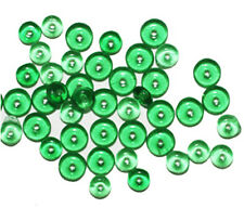 Transparent Green Disc Czech Pressed Glass Beads 5mm (pack of 60)