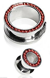 PAIR-Chain Red On Steel Screw On Ear Tunnels 06mm/2 Gauge Body Jewelry