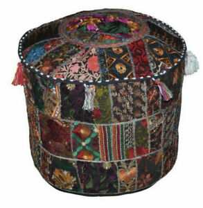 """Indian Ethnic Foot Stool Hippie Embroidered Vintage 22"""" Round Ottoman Pouf Cover"""