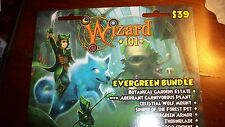Brand new Wizard 101 EVERGREEN Bundle House Game Card CROWNS Wolf Mount new