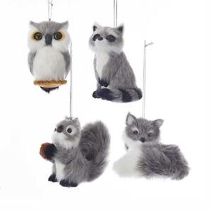 Furry Grey Wildlife Animals Ornaments