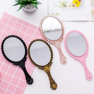 Vintage Oval-Shape Hand Mirror Held Vanity Mirror Standing Makeup Dresser Mirror