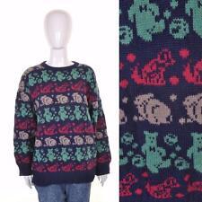 vintage rétro années 80 animal Motif tricot M 10 12 14 nouveauté imprimé clair