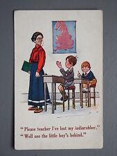 R&L Postcard: Comic, J Salmon, Teacher Classroom School Desks Rubber Indiarubber