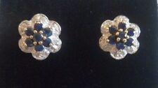 NEW blue sapphire & diamond stud CLUSTER EARRINGS 9 carat gold FLOWER shape