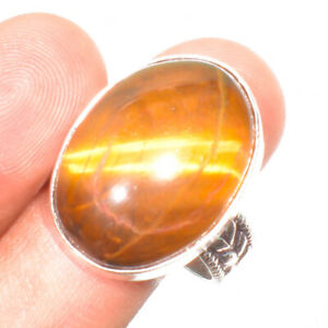 Luster Tiger'S Eye Gemstone 925 Sterling Silver Jewelry Ring Size- 9
