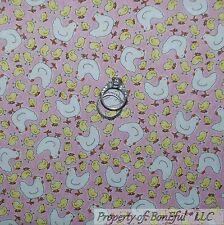 BonEful Fabric FQ Cotton Quilt Pink Yellow White Hen Chick*en Coop Farm Kitchen