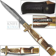 Tall Mans 11.25in Sicilian Damascus Knife Stag Grips Brass Bolstered Italiano