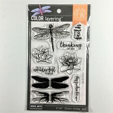 Hero Arts Color Layering Dragonfly Clear Stamp Set Insect Flower Sayings