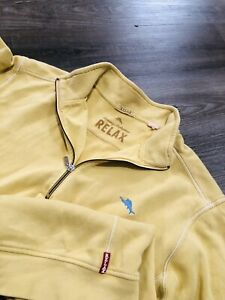 Tommy Bahama Relax 1/4 Zip Yellow Pullover Sweater Cotton Sz XLT TALL Sweatshirt