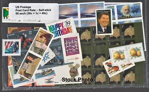 US Postage - New Post Card Rate - 56 each (39c + 1c = 40c) Self-Stick Below Face